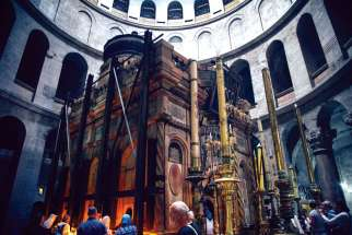 The Edicule of the Tomb in the Church of the Holy Sepulchre, where Christian tradition says Jesus was laid to rest after His crucifixion, is under restoration.