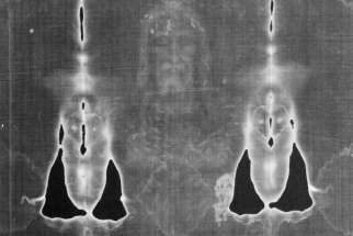 The Shroud of Turin, believed to be the burial cloth of Jesus, has characteristics of a photographic negative. This has been inverted to a positive enhancing the image.