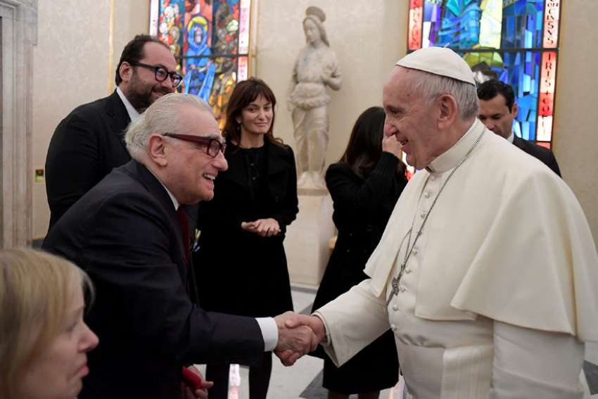 "Pope Francis meets U.S. film director Martin Scorsese during a Nov. 30 private audience at the Vatican. The meeting took place the morning after the screening his film, ""Silence,"" for about 300 Jesuits."