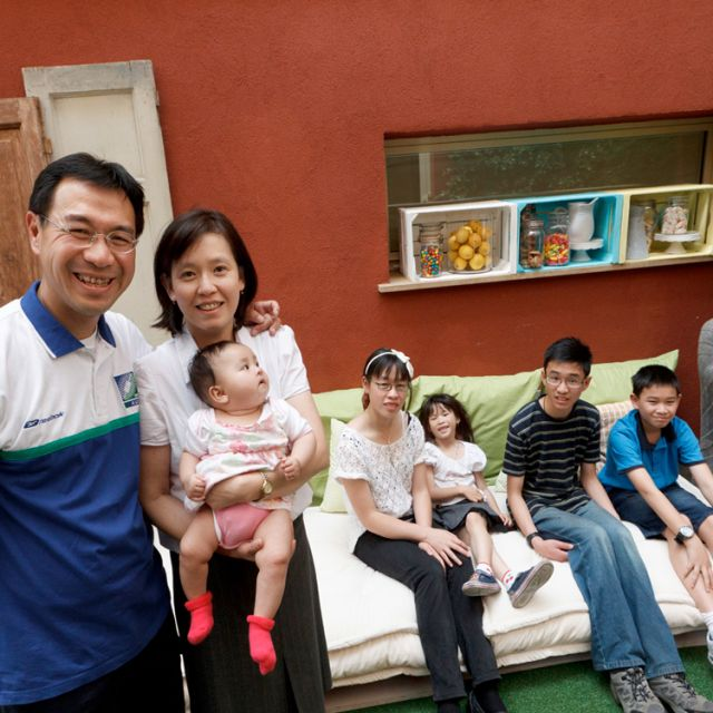 Hendrikus and Paula Wong of Coogee, Australia, pose with their five children during the World Meeting of Families in Milan June 2. From left the children are Laura Philomena, 5 months, Madeleine, 14, Catherine, 5, Michael, 14, and Theodore, 12. Their trip to Milan was sponsored by the Archdiocese of Sydney.