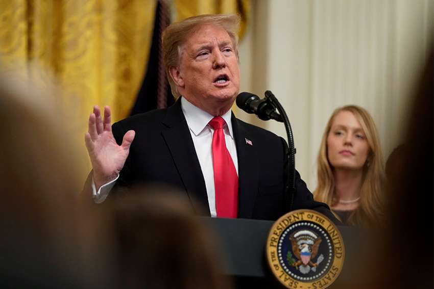 President Donald Trump speaks at the White House March 21, 2019, during a signing ceremony for an executive order to improve transparency and promote free speech in higher education.