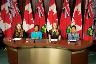 Abigail Persaud, Faiza Haque, Nicole Posluszny and Jenna Langelaan held a news conference on May 28 as student representatives of the Girls Government program at Waterloo, Ont.'s Lester B. Pearson Public School and St. Luke's Catholic Elementary School.