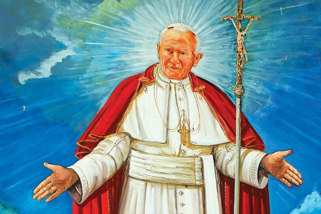 A painting of the late Pope John Paul II in the church of San Pietro della Ienca, near the city of L'Aquila, Italy.