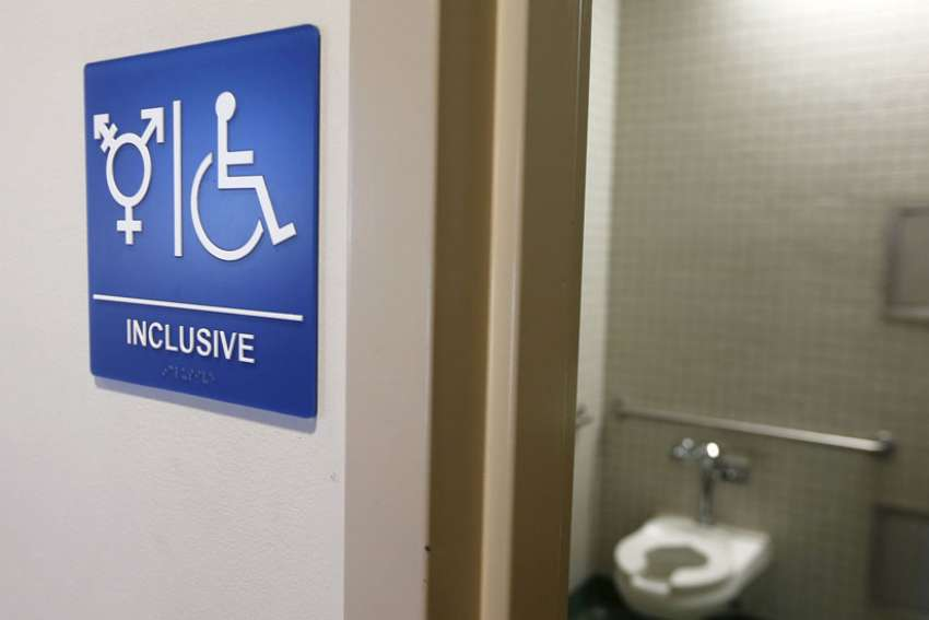 A gender-neutral bathroom is seen in this Sept. 30, 2014, file photo, at the University of California, Irvine.