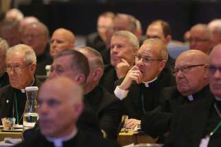 Bishops listen to a speaker Nov. 14 at the fall general assembly of the U.S. Conference of Catholic Bishops in Baltimore.