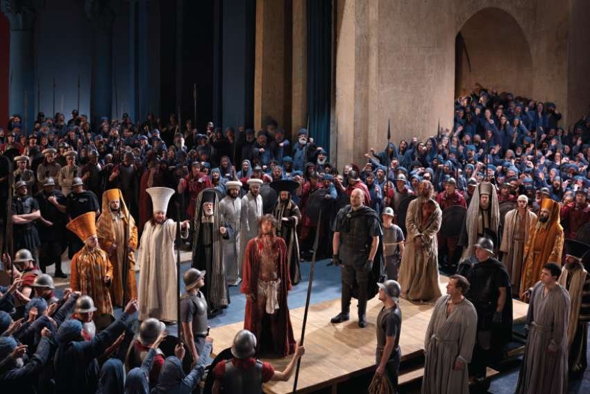 Jesus is brought before Pilate as the crowd shouts its verdict in this scene from the 2010 production of the Passion Play in Oberammergau, Germany.