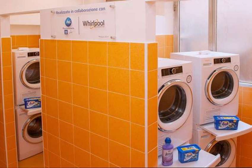 The new Pope Francis Laundry for homeless opened in Trastevere, Italy April 10.