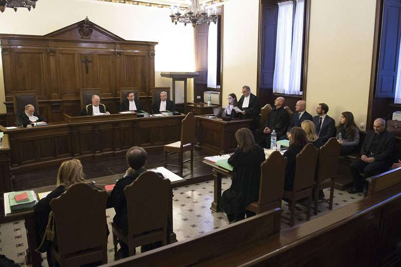 The opening proceedings for the 'VatiLeaks' case are seen in a Vatican courtroom Nov. 24, 2015.