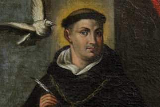 St. Thomas Aquinas is depicted in a painting at the Dominican House of Studies in Washington.
