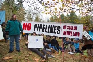 Rally against Kinder Morgan oil pipeline on Burnaby Mountain, 2014.