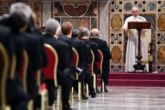 Pope Francis leads an annual meeting to exchange greetings for the new year with diplomats accredited to the Holy See, at the Vatican Jan. 7.