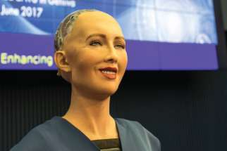 Sophia speaking at the AI for GOOD Global Summit in Geneva in June 2017. The humanoid robot is developed by Hong Kong-based company, Hanson Robotics. On Oct. 2017 she became a Saudi Arabian citizen, the first robot to do so.
