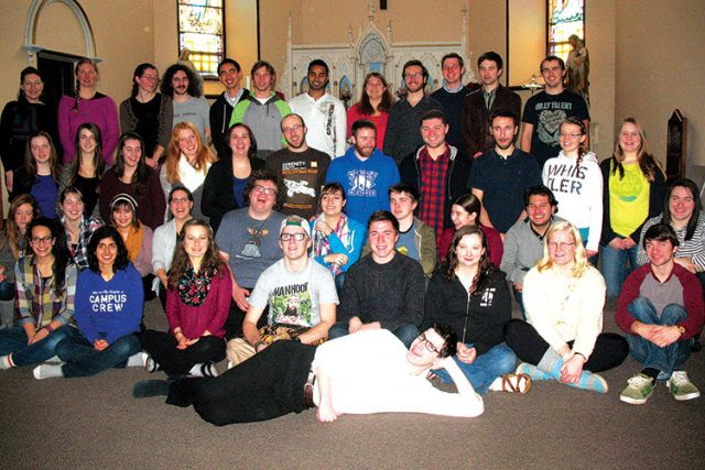 Students from the University of Guelph and Wilfrid Laurier on retreat at the St. Ignatius Deemerton Retreat Centre.