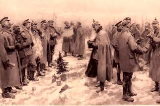 "This drawing from The Illustrated London News in 1915 depicts a German officer photographing ""a group of foes and friends"" during the  Christmas Truce  of 1914 when soldiers on the front lines briefly set down their weapons and greeted one another to mark the special day."