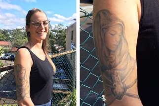 Emma Fradd shows off her tattoo of Our Lady of Seven Sorrows.