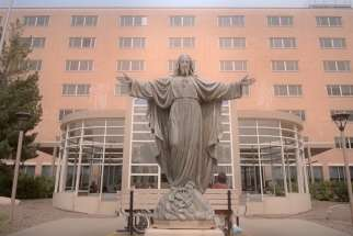 A statue of the Sacred Heart of Jesus at the entrance of St. Paul's Hospital in Saskatoon.