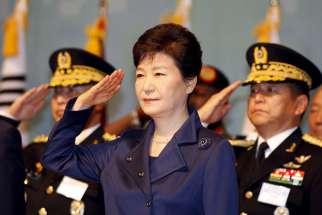 outh Korean President Park Geun-Hye salutes during Armed Forces Day in 2015 in Gyeryong. A South Korean court removed the president March 10, a first in the nation's history, rattling the delicate balance of relationships across Asia at a particularly tense time.