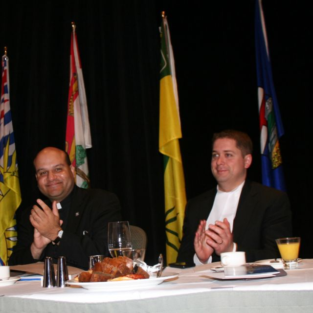 Fr. Raymond de Souza, left, gave the keynote speech at the National Prayer Breakfast May 1. He is shown here with House of Commons Speaker Andrew Scheer.