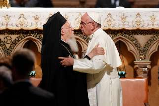 Pope Francis embraces Ecumenical Patriarch Bartholomew of Constantinople Sept. 20, 2016. Pope Francis told a delegation from the Ecumenical Patriarchate of Constantinople June 27 that unity is not just 'bland uniformity.'