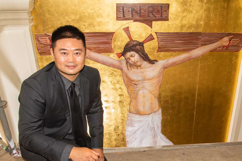 Catholic artist Ken Woo has been working on sacred art for the Church of the Holy Family for two years.