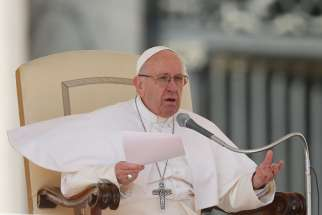 Pope Francis speaks during his general audience in St. Peter's Square at the Vatican March 15.