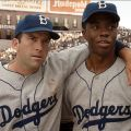 "Lucas Black and Chadwick Boseman star in a scene from the movie ""42."" The Catholic News Service classification is A-III -- adults. The Motion Picture Association of America rating is PG-13 -- parents strongly cautioned. Some material may be inappropriate for children under 13."