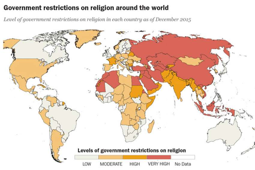 According to the latest study from Pew Research Center, restrictions on religion due to government policies or actions increased in 2015, reversing the downward trends seen in years past.