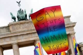 A sign supporting same-sex marriage is seen in Berlin June 30. German lawmakers voted to legalize same-sex marriage the same day.