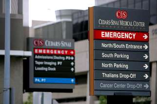 "Signs point toward the emergency room at Cedars-Sinai Hospital in Los Angeles Jan. 4, 2008. In a letter released June 2, four U.S. bishops' committee chairmen asked the Senate to makes sure their health care reform bill respects life, provides access to adequate health care ""for all"" and is ""truly affordable."""
