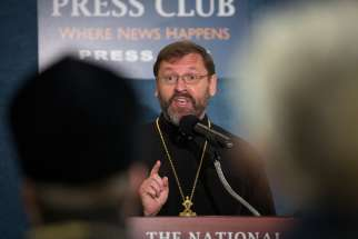 Ukrainian Catholic Archbishop Sviatoslav Shevchuk of Kiev-Halych, leader of the Ukrainian Catholic Church, speaks at the National Press Club in Washington Nov. 9. The archbishop along with other Ukrainian Catholic and Orthodox leaders made an appeal to President Obama to airlift crucial humanitarian supplies to the Ukraine for this winter season.