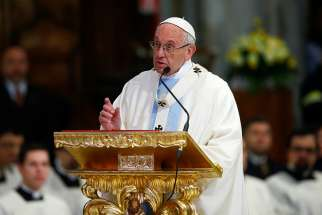 Pope Francis gives the homily as he celebrates Mass at the Basilica of St. Mary Major in Rome Jan. 28.