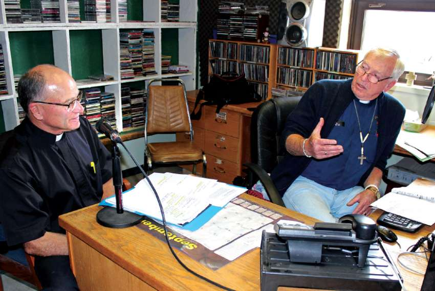 Deacons Rollie Comeau, left, and Leo Farley host a weekly talk radio show called Deacon's Corner, every Wednesday on Maskwacis' Hawk Radio FM 89.1.