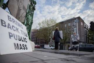 Concerned Catholics protest Ireland's ongoing cancellation of public Mass in Cork City April 29, 2021, during the COVID-19 pandemic. The Irish government has confirmed that a controversial COVID-19-related ban on Catholics attending Mass will be lifted May 10.