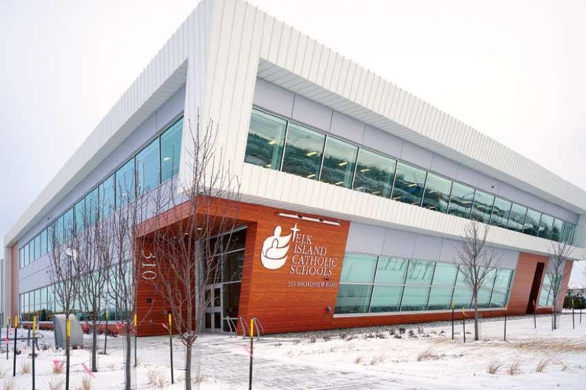 The newly opened Elk Island Catholic Schools Central Learning Services building has a dynamic and contemporary design, including glass walls that flood the interior with natural light.
