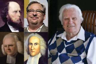 Clockwise from top left: Jonathan Edwards (1703-1758), preacher and theologian, Rick Warren, leader of the Saddleback Church, Billy Graham, towering figure among 20th-century evangelicals, George Whitfield (1714-1770), who was called the father of modern revivalism.