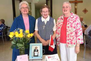 Sister Elizabeth Kass at a celebration after becoming a Canadian citizen in her 80s, May 2016.