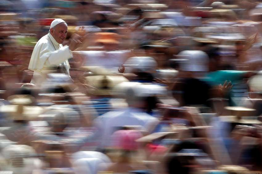 Pope Francis waves as he arrives for his general audience June 2017 in St. Peter's Square at the Vatican.
