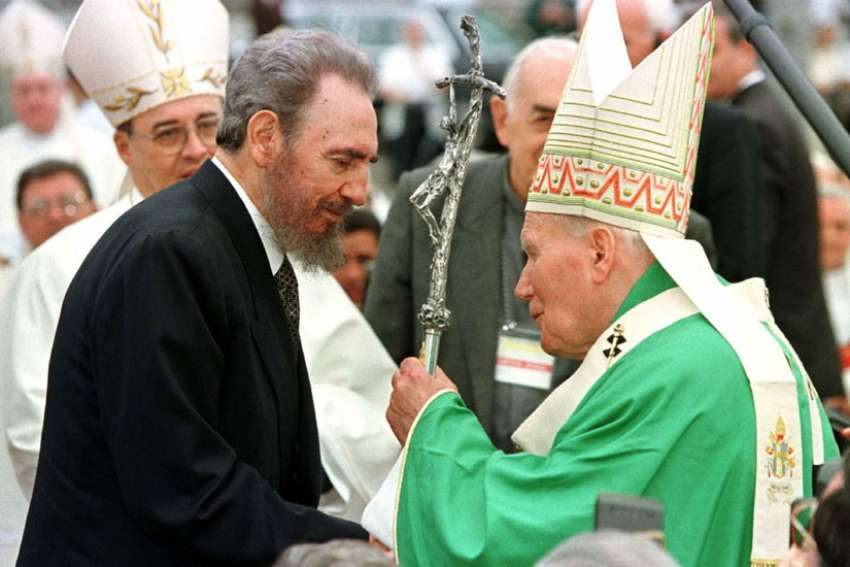 Pope John Paul II greets Cuban President Fidel Castro at the end of Mass in the Plaza of the Revolution in Havana Jan. 25, 1998.