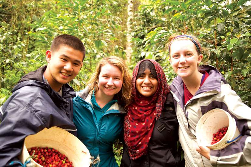 Yasmeen Nemat Allah, second from right, worked on a Peruvian coffee plantation that harvests and manufactures the same coffee beans served at St. Jerome's University's cafeteria.