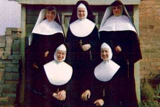 The five Straus sisters, back row, from left: Sr. Michaeline, Sr. Caroline, Sr. Mildred; front row, Sr. Christina, Sr. Lucy.
