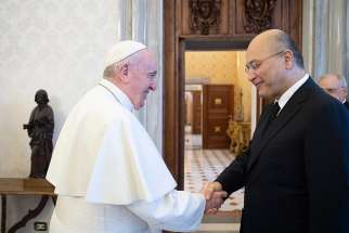 Pope Francis greets Iraqi President Barham Salih at the Vatican Jan. 25, 2020. The Vatican has confirmed Pope Francis will visit Iraq March 5-8.