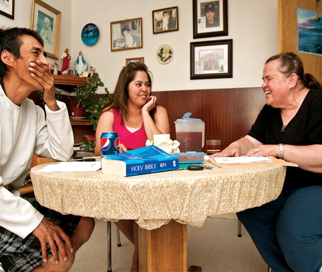 Sr. Celeste Goulet, right, leads a couple in marriage preparation.