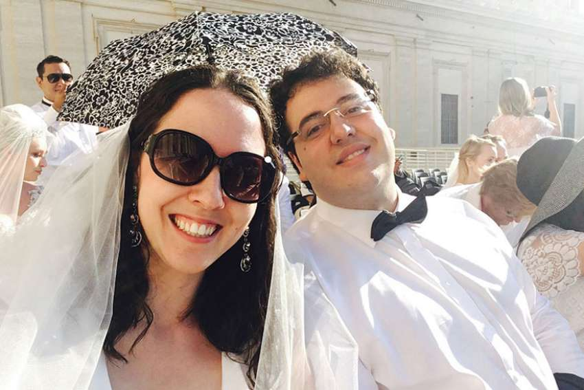 The newlywed Raimondos, Vanessa and her husband Daniele, at the Vatican where their nuptials were blessed by Pope Francis.