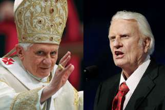 Pope Benedict XVI, left, and evangelist Billy Graham.