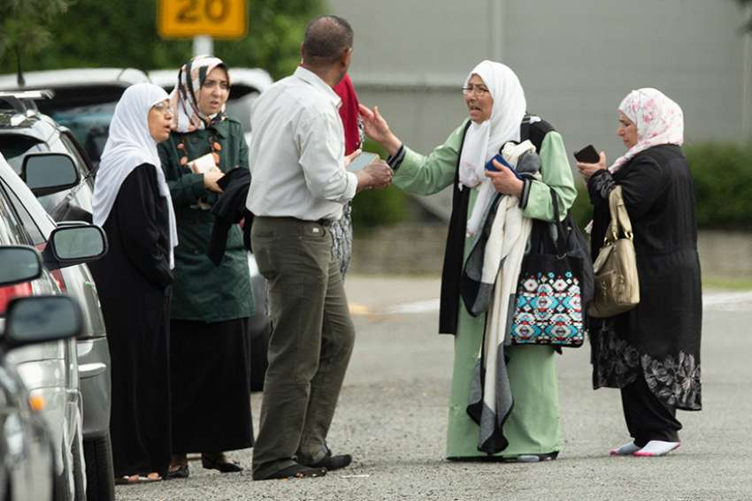 Members of a family react outside the Al Noor Mosque in Christchurch, New Zealand, March 15, 2019. Forty-nine people were assassinated and at least 40 more are being treated for gunshot wounds following the mosque terror attacks.