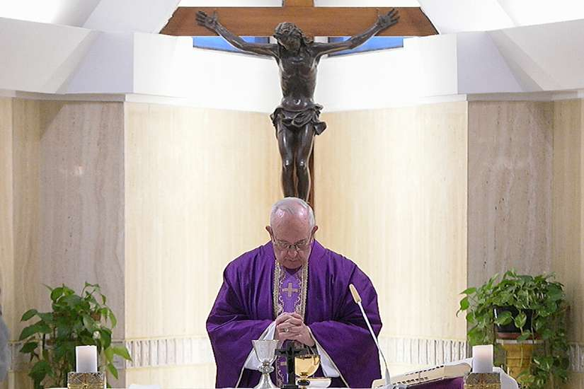"Pope Francis celebrates Mass Feb. 16 in the chapel of the Domus Sanctae Marthae at the Vatican. In his homily, the pope said that if a Christian's Lenten fasting does not help others and lead to a real awareness of one's own sins, then it is ""fake."""