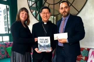 Development and Peace advocacy officer Genevieve Talbot, left, Cardinal Luis Antonio Tagle and Development and Peace deputy director of in-Canada programs Ryan Worms in New York for high level UN climate change meetings Sept. 25-27.