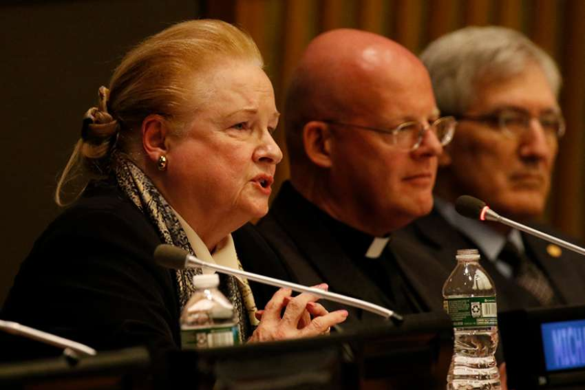 Harvard Law School professor Mary Ann Glendon, former U.S. ambassador to the Vatican, speaks during a Dec. 4 presentation marking the 70th anniversary of the adoption of the Universal Declaration of Human Rights at the United Nations in New York City. The event was co-hosted by the Vatican's Permanent Observer Mission to the U.N. and ADF International.
