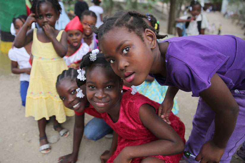 Students at St. Martin de Porres School in Hinche, Haiti, are seen Feb. 13 during Carnival activities at the school.
