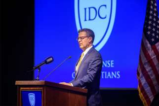 Sam Brownback, ambassador-at-large for international religious freedom, gives a keynote address in Washington Sept. 10, 2019, at the sixth annual Solidarity Dinner hosted by In Defense of Christians. He urged more prayer and action to continue supporting persecuted Christians in the Middle East.